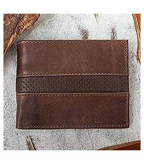 leather bifold wallet, 'off road in brown' (mexico)