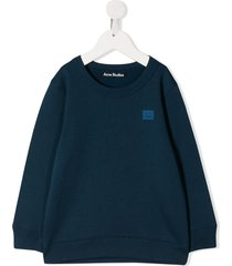 acne studios mini fairview face motif sweatshirt - blue