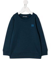 acne studios mini fairview face motif sweatshirt - blue