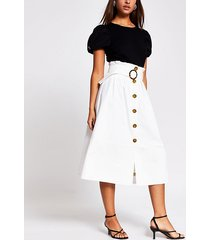 river island womens cream belted structured midi skirt