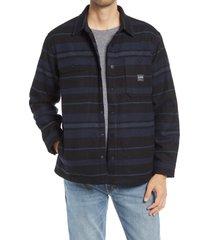 men's lee plaid button-up shirt jacket, size medium - blue