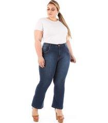 calça jeans plus size - confidencial extra pantacourt com lycra