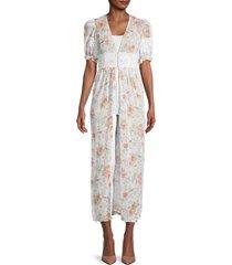 weworewhat women's floral-print sheer cardigan - white - size m