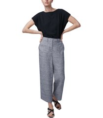 b new york linen wide-leg cropped pants