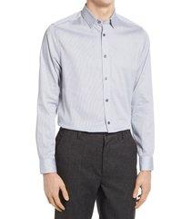 men's ted baker london trim fit geo print stretch dress shirt, size 17.5 - blue