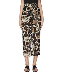 graphic print wrap midi skirt