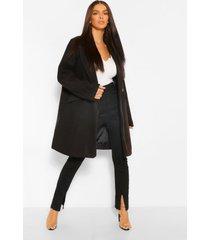 getailleerde nepwollen jas met zak detail, zwart