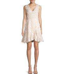 nicola floral appliqué linen dress