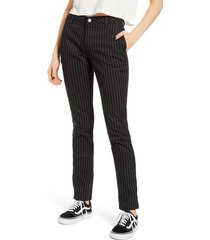 dickies pinstripe four pocket stretch cotton pants, size 1 in black at nordstrom