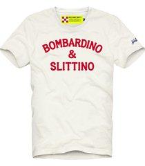 mc2 saint barth white t-shirt man red bombardino & slittino print