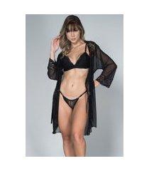 robe feminino tule com renda e conjunto lingerie maine serra e mar modas preto