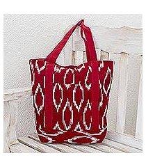 cotton tote shoulder bag, 'ruby maya' (guatemala)
