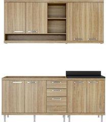 cozinha compacta completa multimã³veis com 4 peã§as sicãlia 5818 argila/argila - bege/incolor - dafiti