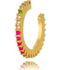 brinco piercing fake drusi semi joias argolinha fina colorido - dourado - feminino - dafiti