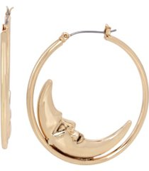 betsey johnson celestial moon hoop earrings
