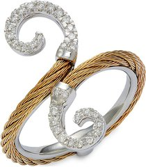 alor women's 18k white gold, goldtone stainless steel cable & diamond ring - size 7