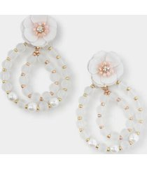paisley floral beaded circle drop earrings - white
