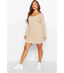 petite v-neck sweater mini dress, stone