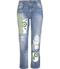 ermanno scervino blue boyfriend jeans with patchwork