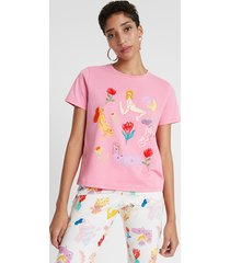 organic t-shirt with embroideries by miranda makaroff - red - xl