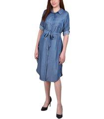 petite 3/4 roll tab sleeve denim dress