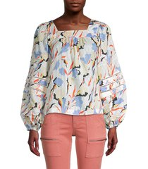 joie women's printed cotton & silk-blend top - porcelain - size xl