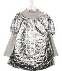 andorine teen oversized puffer dress - silver