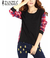 zanzea mujeres check plaid blusas jerseys casual manga larga tops casual sudaderas con capucha irregulares sudaderas s-5xl (negro) -negro