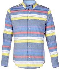 camisa m burke stripe stretch azul tommy hilfiger