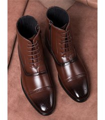 botas altas con cordones y cremallera lateral chelsea para hombre