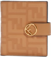 women's fendi embossed leather french wallet -