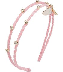monnalisa velvet double-band headband - pink