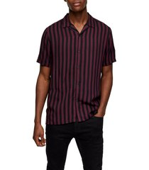 men's topman stripe short sleeve button-up camp shirt