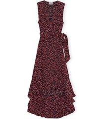 printed crepe sleeveless wrap dress in black