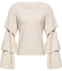 blusa tricot camadas isabella fiorentino para oqvestir - bege