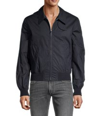 helmut lang men's trench point-collar bomber jacket - navy - size s