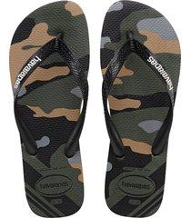 men's havaianas top camo flip flop, size 13 m - green