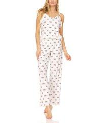 bearpaw women's lettuce edge ruffle jersey rib tank and wide leg pant, pajama lounge comfy sleepwear set, 2 piece
