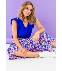 maxi rok floral blauw