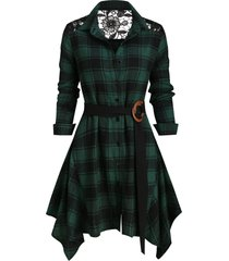 lace panel plaid button up belted shirt