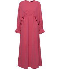 vmally wide l/s ankle dress exp knälång klänning rosa vero moda
