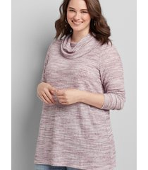 lane bryant women's cowl-neck subtle swing tunic 10/12 purple