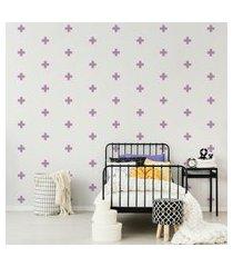 adesivo de parede cruz minimalista lilás 9x9cm 69un cobre 4m²