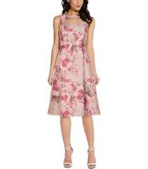 adrianna papell metallic floral a-line dress