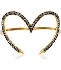 anel duplo heart amarelo c/ diam chocolate - 17