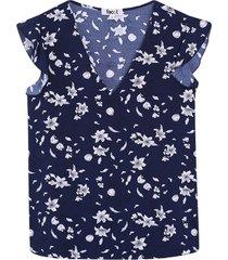 blusa para mujer floral color azul, talla 10