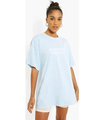 oversized katoenen positive t-shirt, light blue