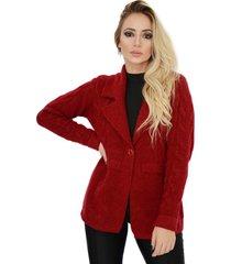 casaco sobretudo social trico com botões mousse livora vermelho
