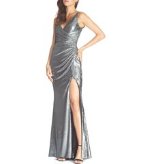 women's dress the population jordan ruched mermaid gown, size x-large - grey