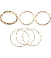 thalia sodi gold-tone 6-pc. set crystal, bamboo & textured bangle bracelets, created for macy's